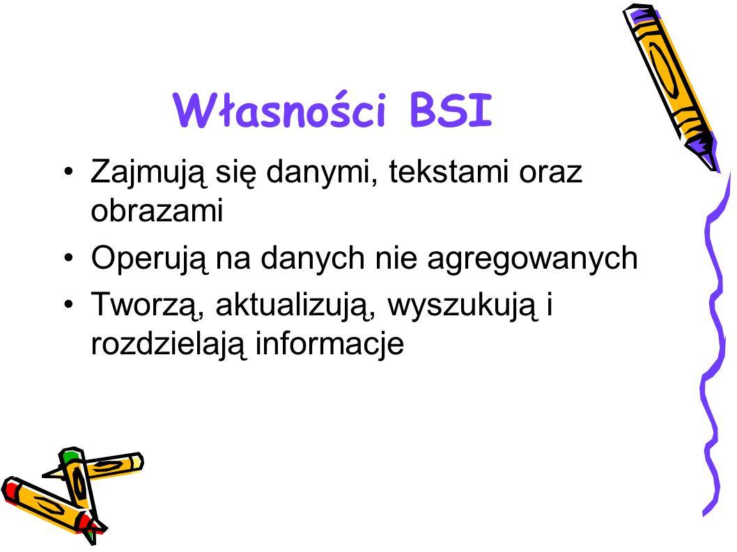 Własności BSI Zajmują się danymi, tekstami oraz obrazami