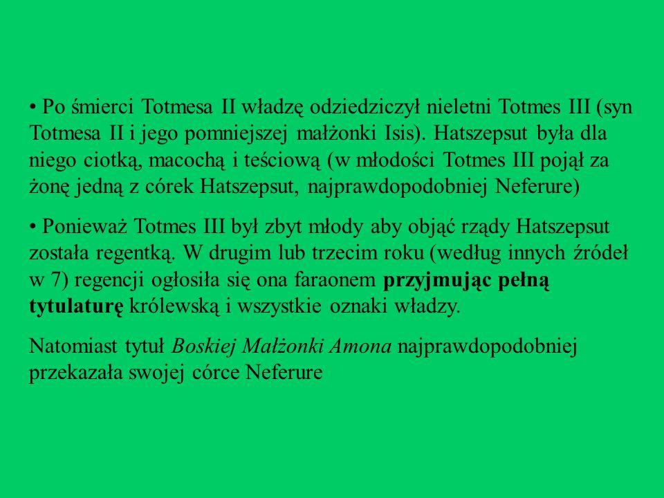 Po śmierci Totmesa II władzę odziedziczył nieletni Totmes III (syn Totmesa II i jego pomniejszej małżonki Isis). Hatszepsut była dla niego ciotką, macochą i teściową (w młodości Totmes III pojął za żonę jedną z córek Hatszepsut, najprawdopodobniej Neferure)