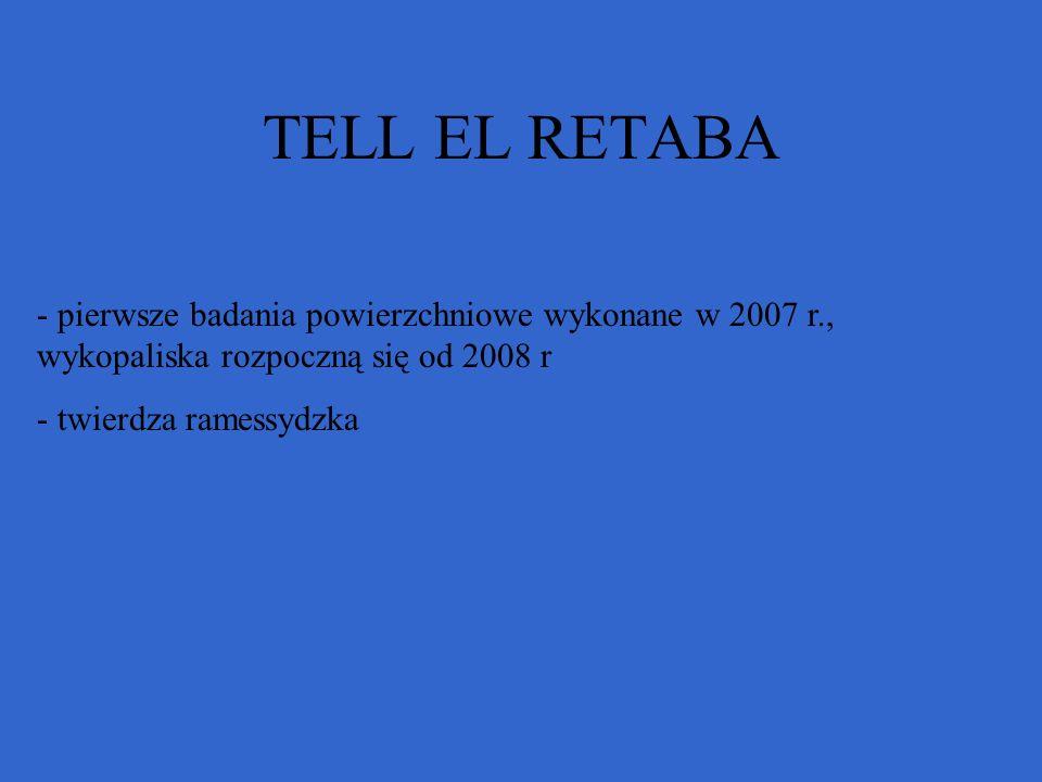 TELL EL RETABA pierwsze badania powierzchniowe wykonane w 2007 r., wykopaliska rozpoczną się od 2008 r.