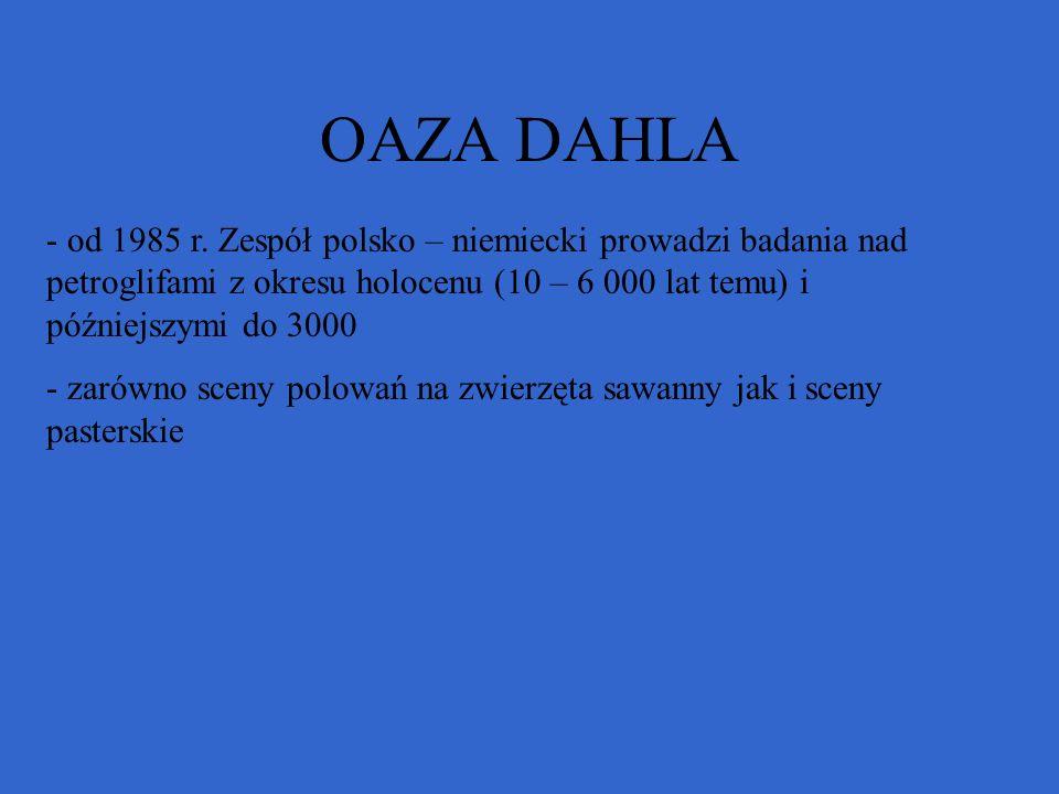 OAZA DAHLA od 1985 r. Zespół polsko – niemiecki prowadzi badania nad petroglifami z okresu holocenu (10 – 6 000 lat temu) i późniejszymi do 3000.
