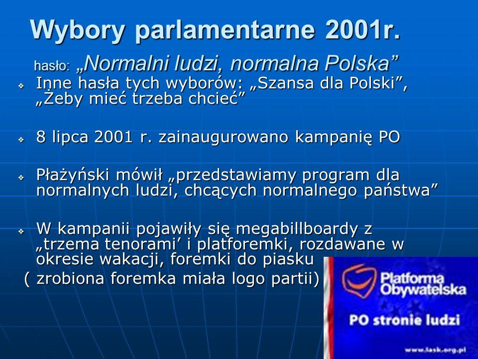 """Wybory parlamentarne 2001r. hasło: """"Normalni ludzi, normalna Polska"""
