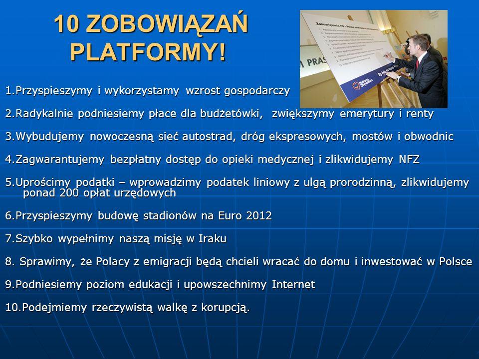 10 ZOBOWIĄZAŃ PLATFORMY! 1.Przyspieszymy i wykorzystamy wzrost gospodarczy.
