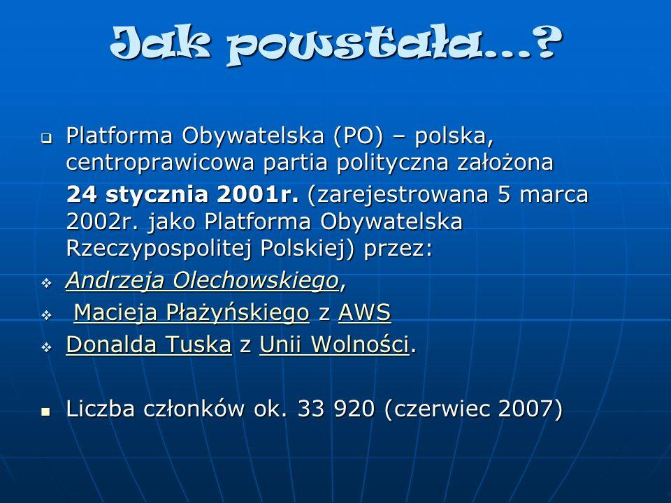 Jak powstała… Platforma Obywatelska (PO) – polska, centroprawicowa partia polityczna założona.