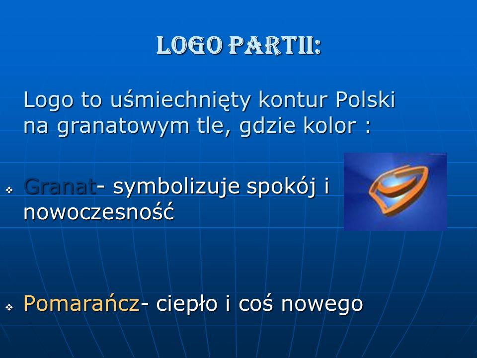 LOGO PARTII: Logo to uśmiechnięty kontur Polski na granatowym tle, gdzie kolor : Granat- symbolizuje spokój i nowoczesność.