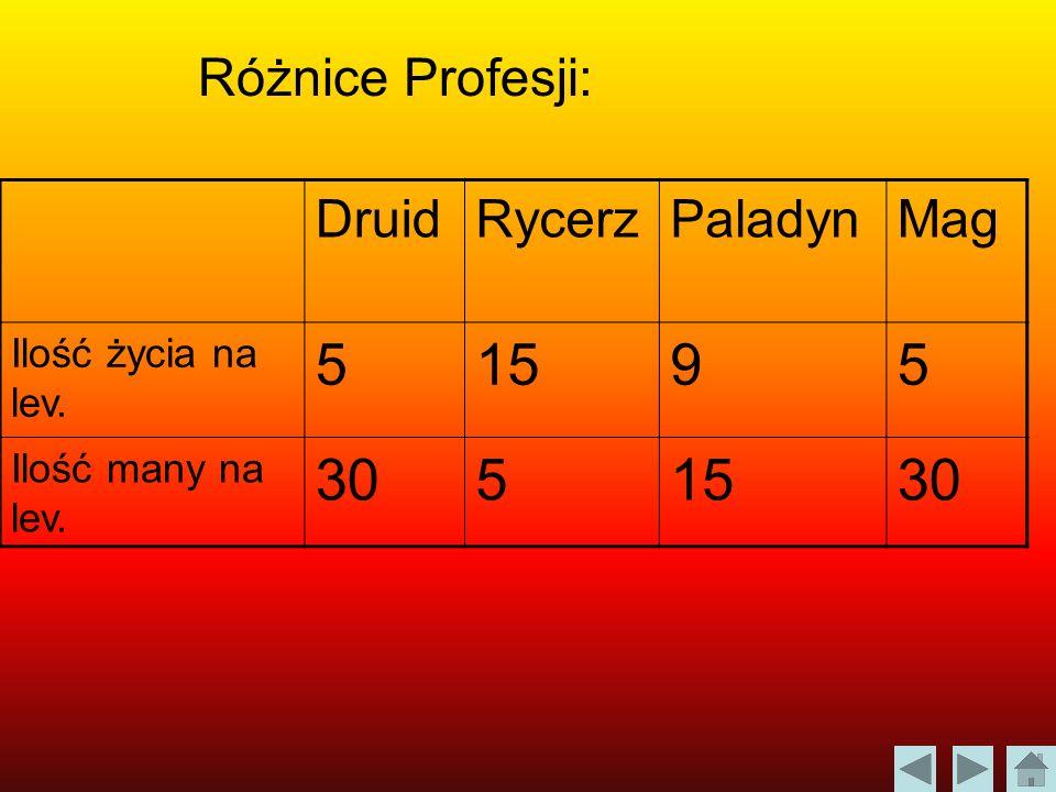 5 15 9 30 Różnice Profesji: Druid Rycerz Paladyn Mag