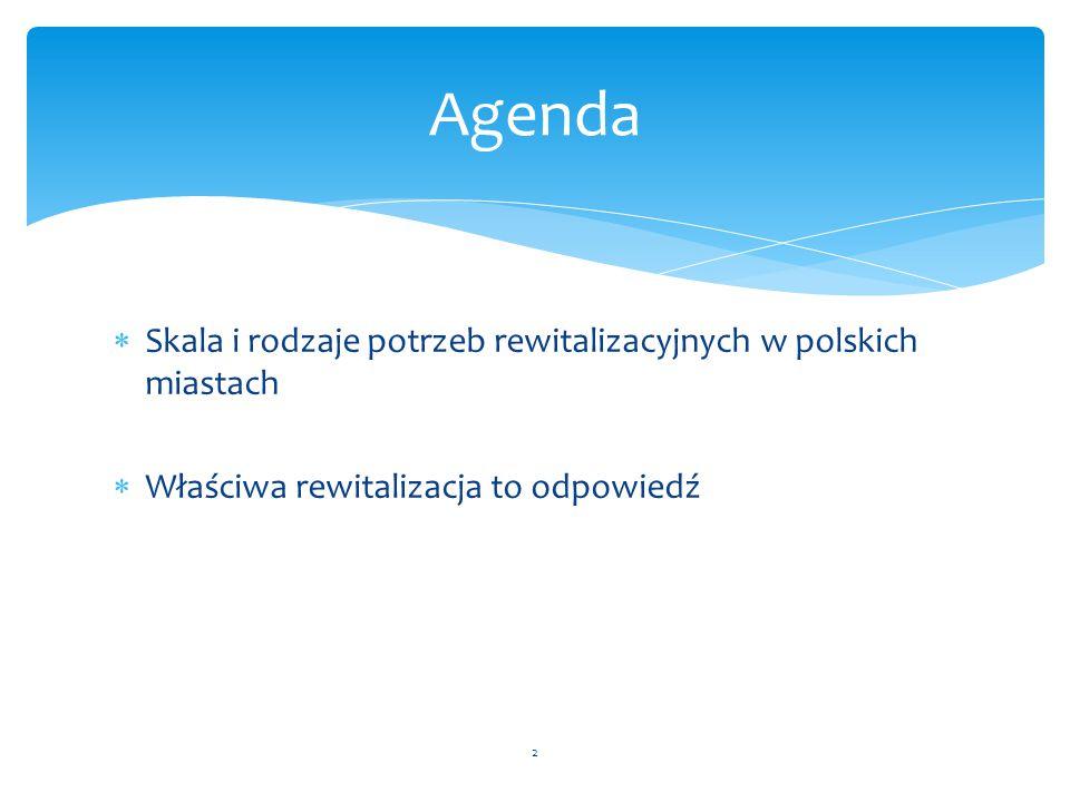 Agenda Skala i rodzaje potrzeb rewitalizacyjnych w polskich miastach