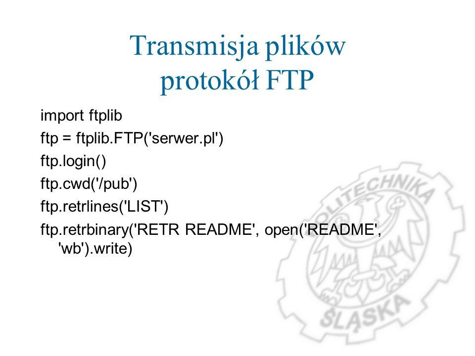 Transmisja plików protokół FTP