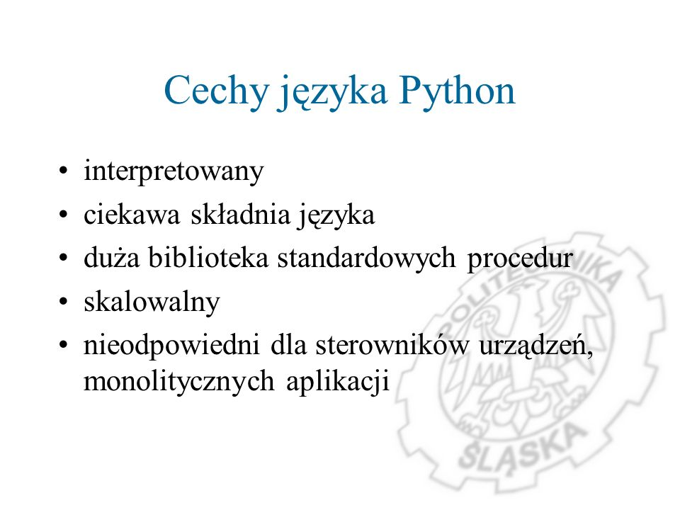 Cechy języka Python interpretowany ciekawa składnia języka