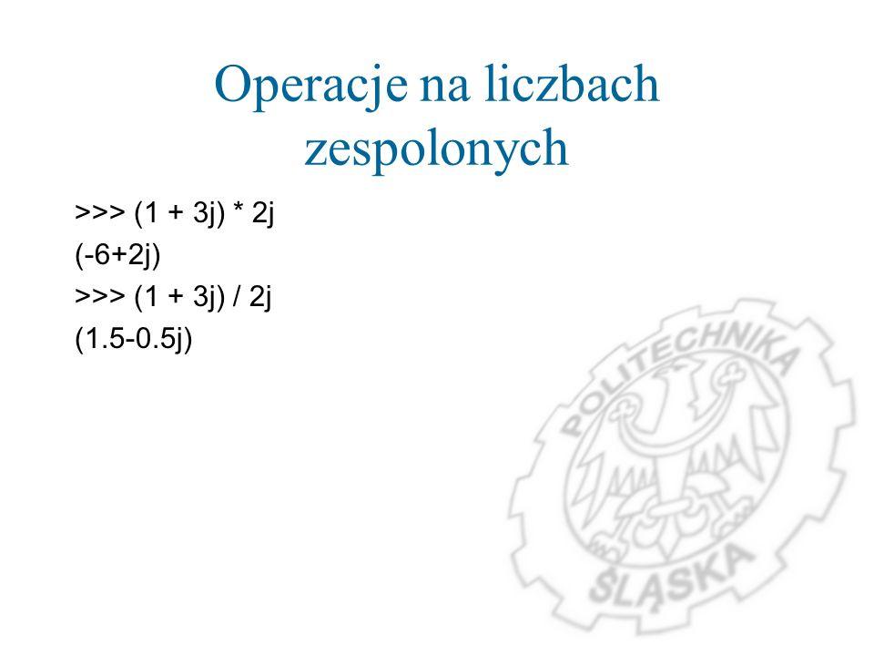 Operacje na liczbach zespolonych