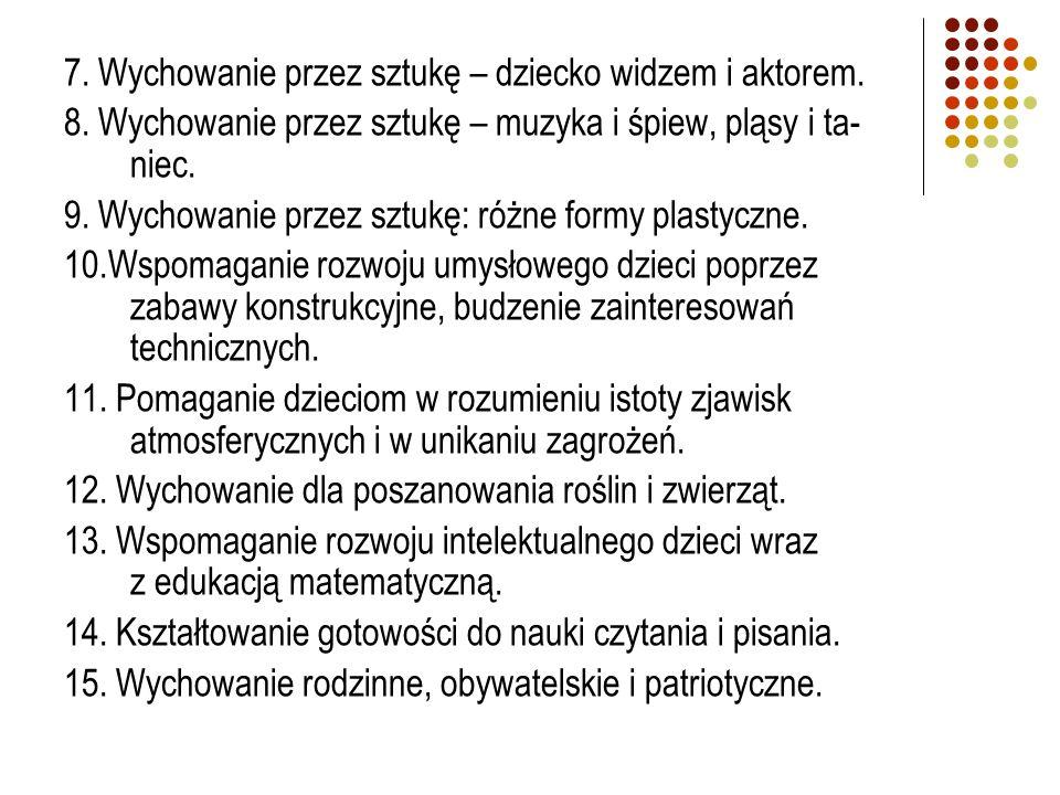 7. Wychowanie przez sztukę – dziecko widzem i aktorem.