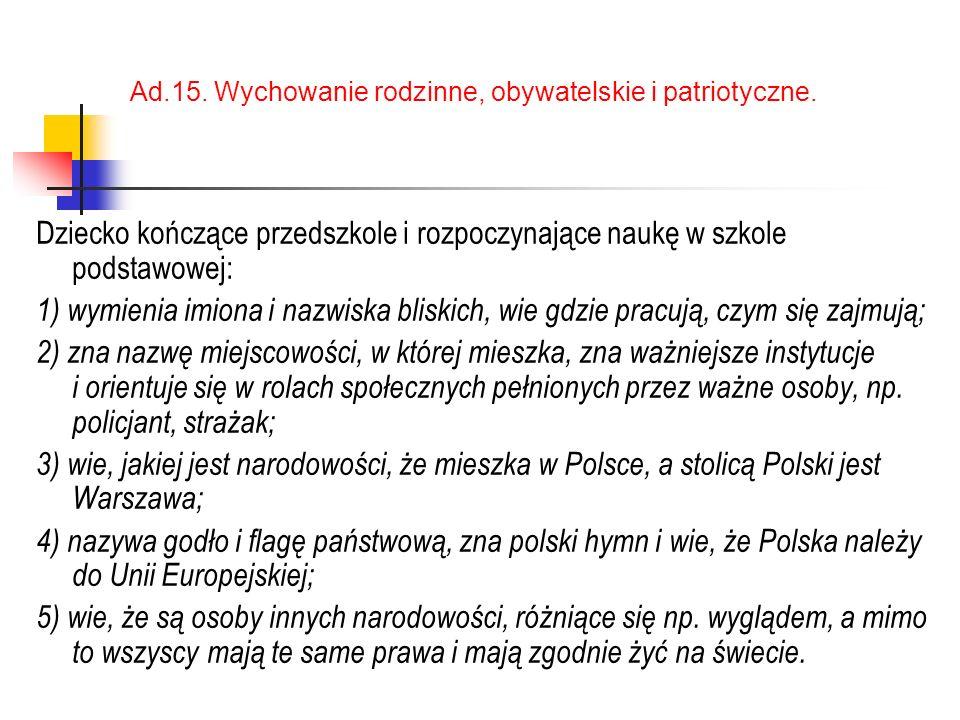 Ad.15. Wychowanie rodzinne, obywatelskie i patriotyczne.