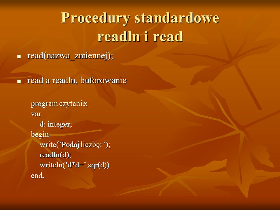 Procedury standardowe readln i read
