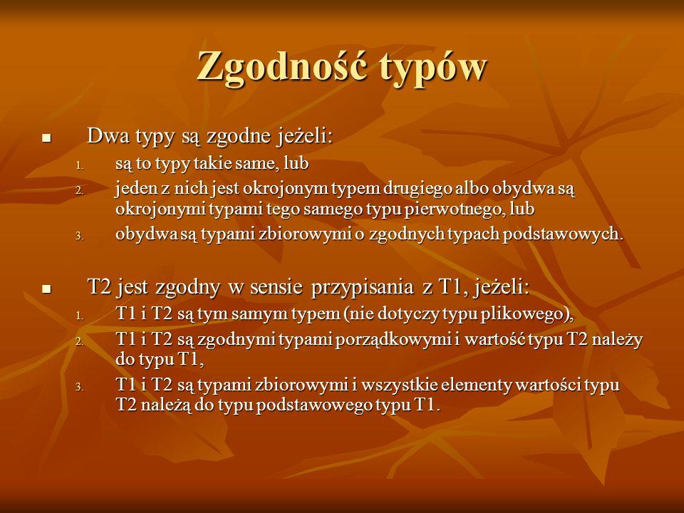 Zgodność typów Dwa typy są zgodne jeżeli: