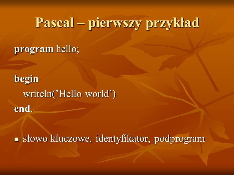 Pascal – pierwszy przykład