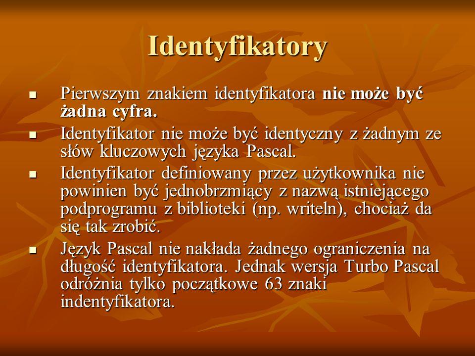 Identyfikatory Pierwszym znakiem identyfikatora nie może być żadna cyfra.