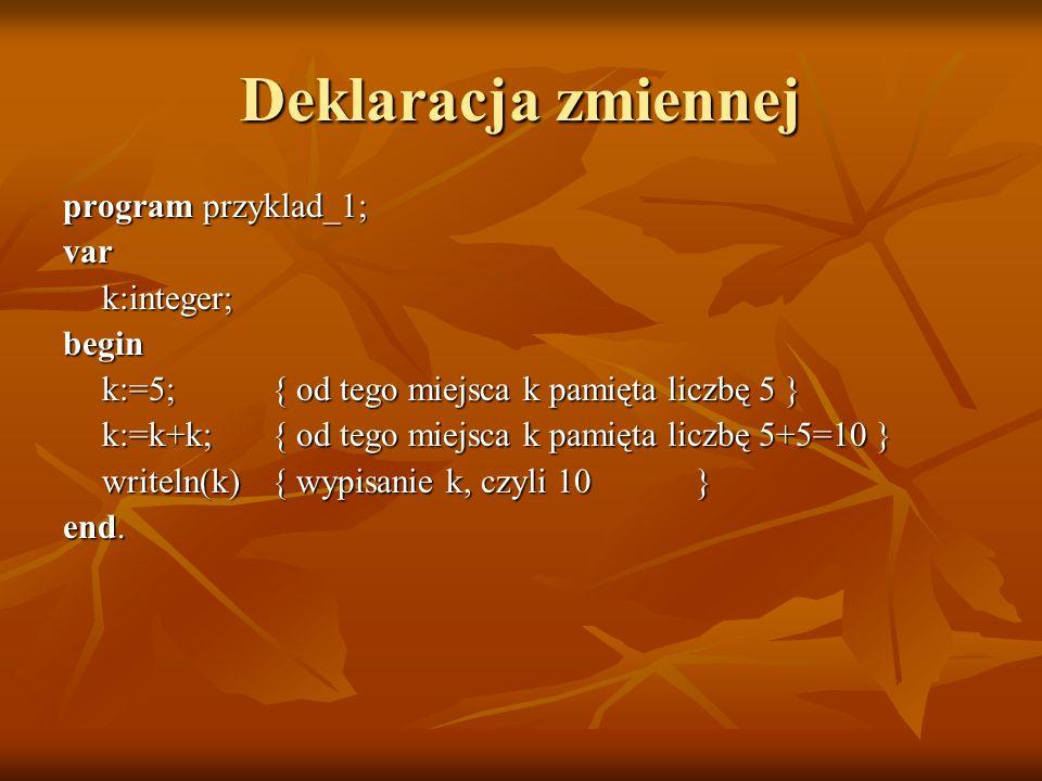 Deklaracja zmiennej program przyklad_1; var k:integer; begin