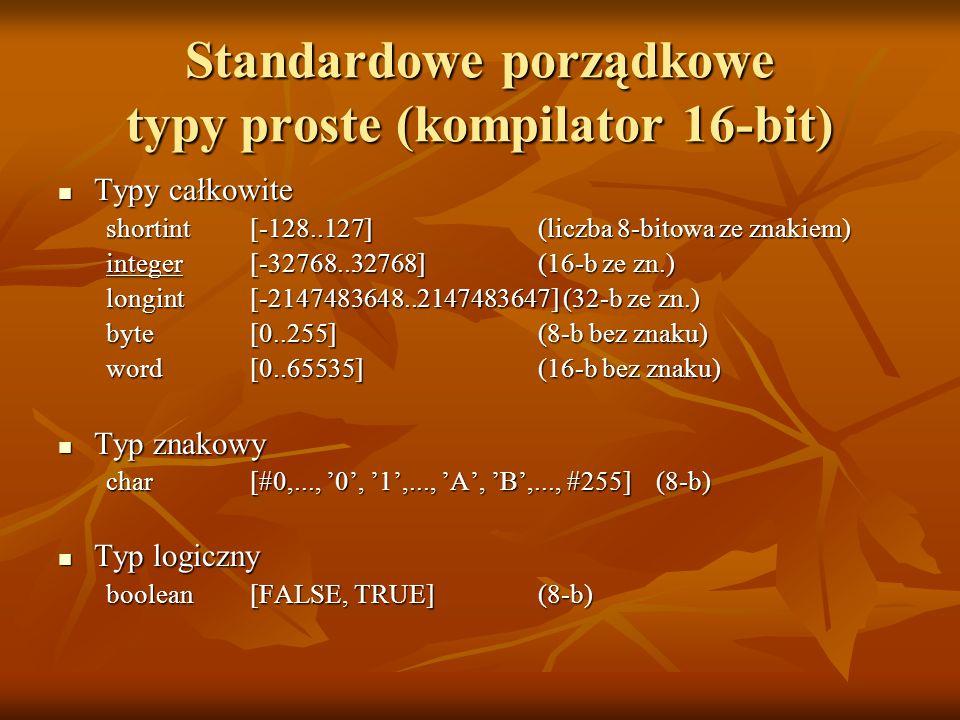 Standardowe porządkowe typy proste (kompilator 16-bit)