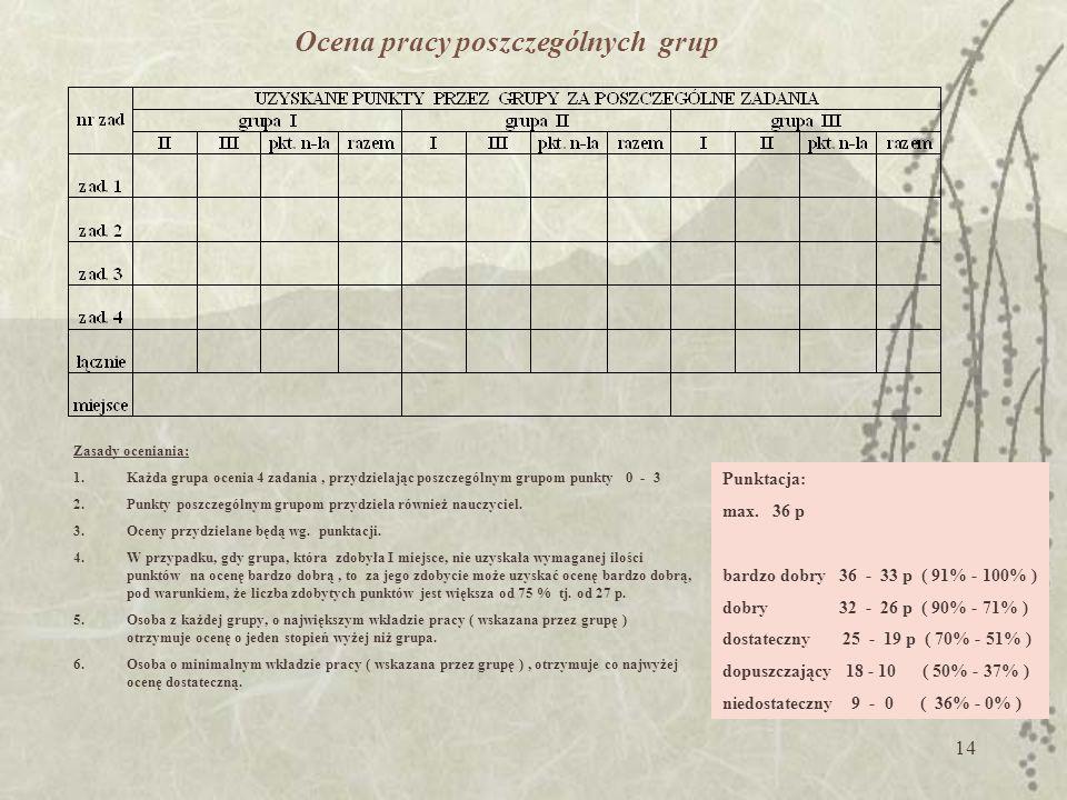 Ocena pracy poszczególnych grup