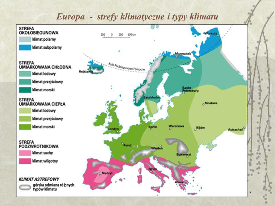 Europa - strefy klimatyczne i typy klimatu
