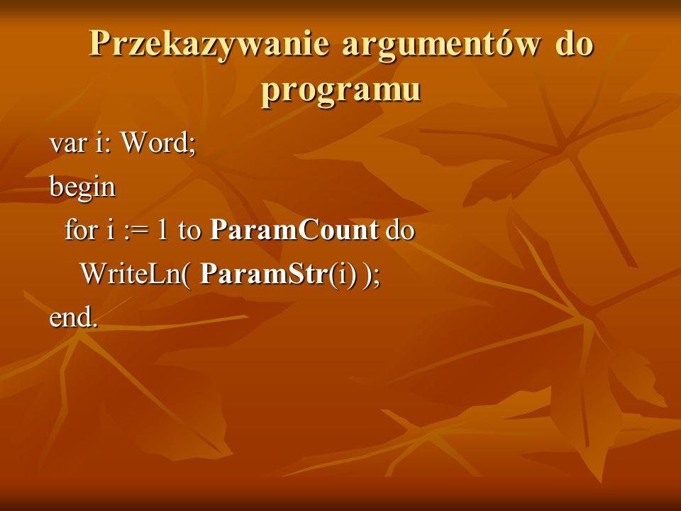 Przekazywanie argumentów do programu