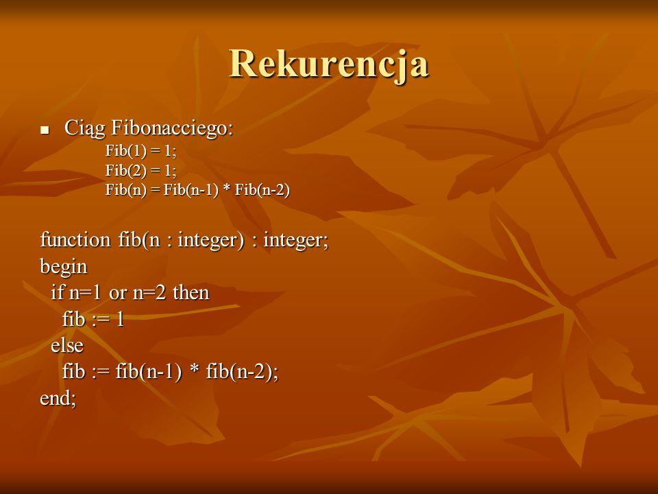 Rekurencja Ciąg Fibonacciego: function fib(n : integer) : integer;