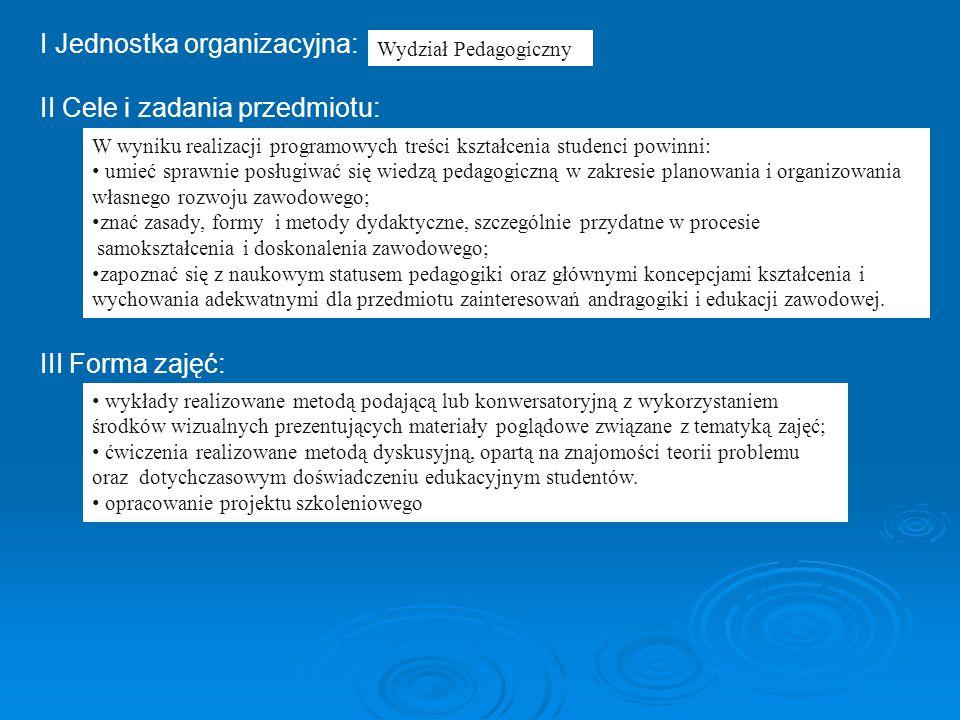 I Jednostka organizacyjna: II Cele i zadania przedmiotu: