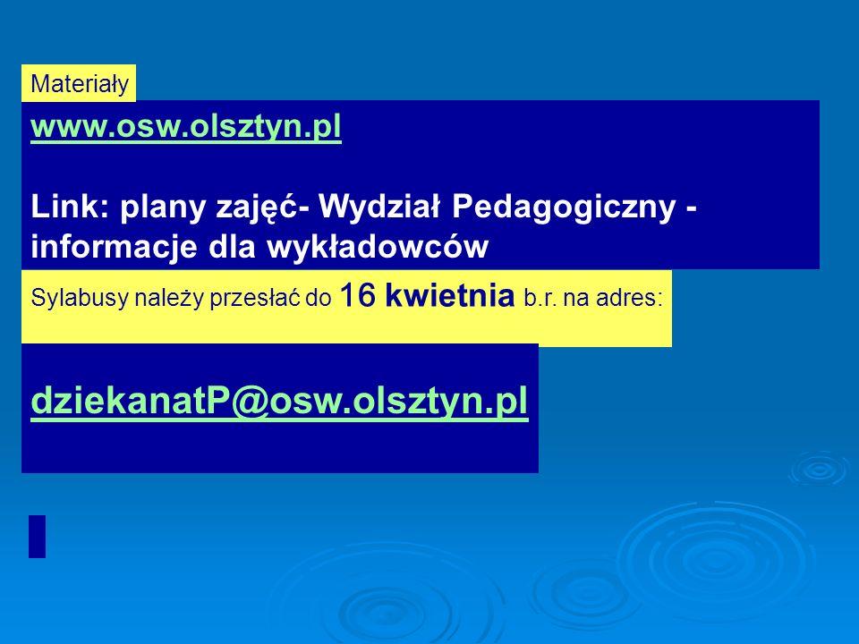 dziekanatP@osw.olsztyn.pl www.osw.olsztyn.pl