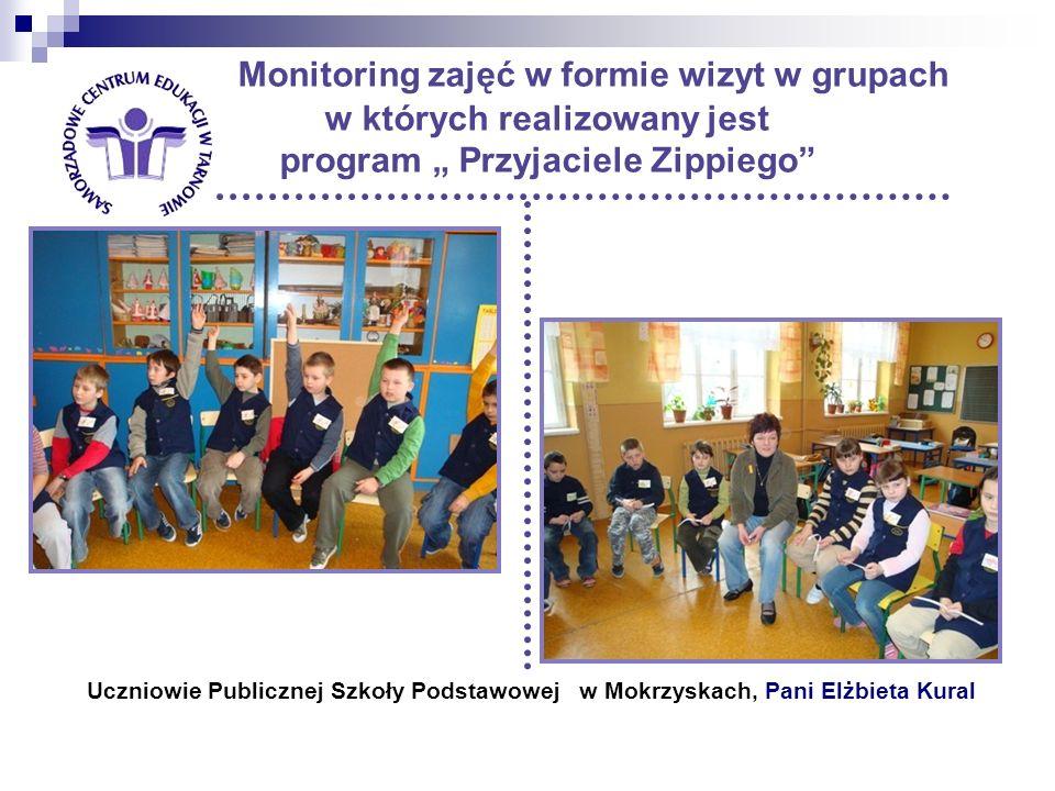 """Monitoring zajęć w formie wizyt w grupach w których realizowany jest program """" Przyjaciele Zippiego"""