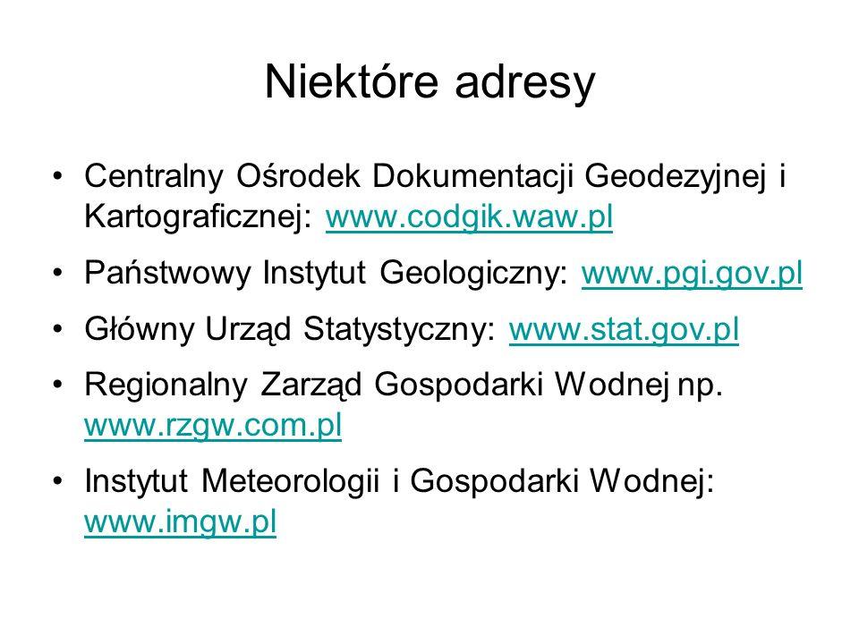 Niektóre adresy Centralny Ośrodek Dokumentacji Geodezyjnej i Kartograficznej: www.codgik.waw.pl. Państwowy Instytut Geologiczny: www.pgi.gov.pl.