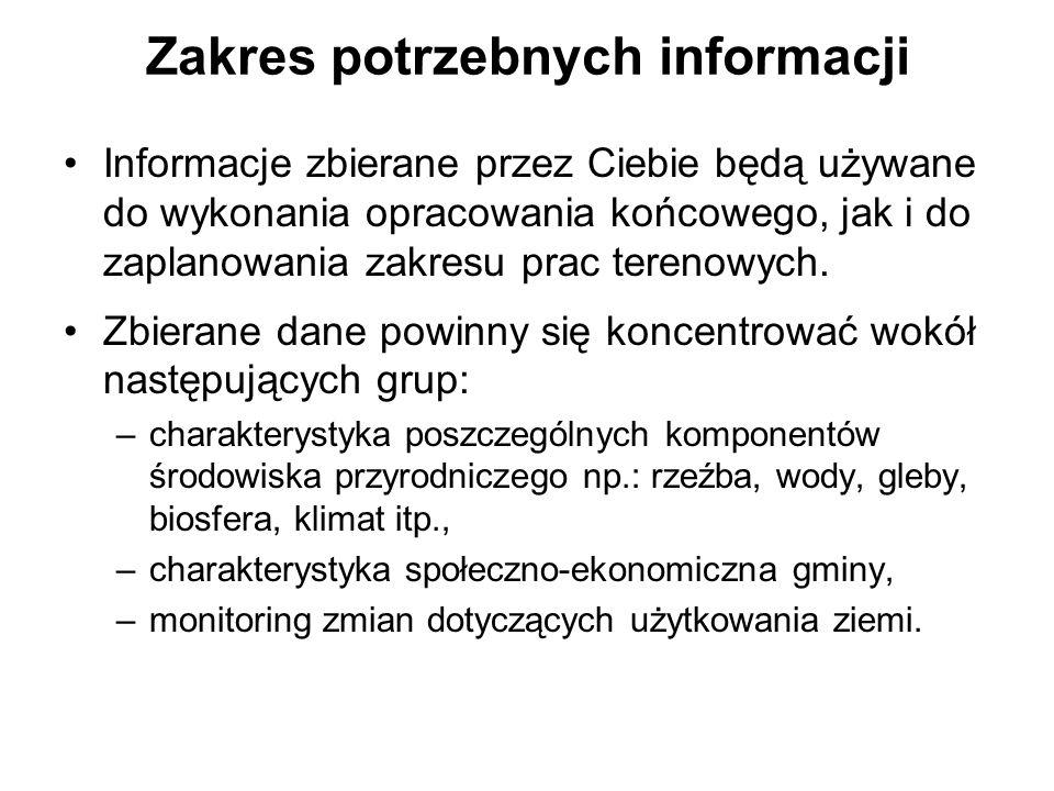 Zakres potrzebnych informacji