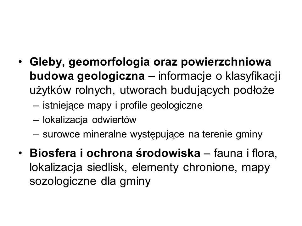 Gleby, geomorfologia oraz powierzchniowa budowa geologiczna – informacje o klasyfikacji użytków rolnych, utworach budujących podłoże