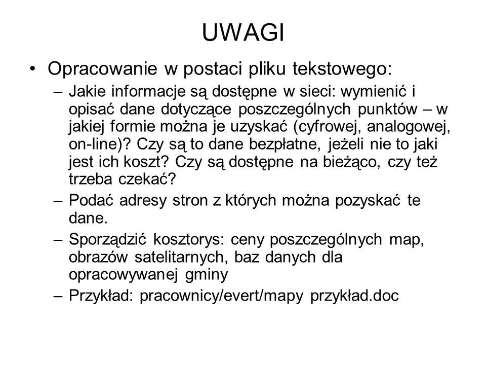 UWAGI Opracowanie w postaci pliku tekstowego: