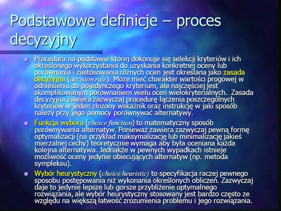 Podstawowe definicje – proces decyzyjny
