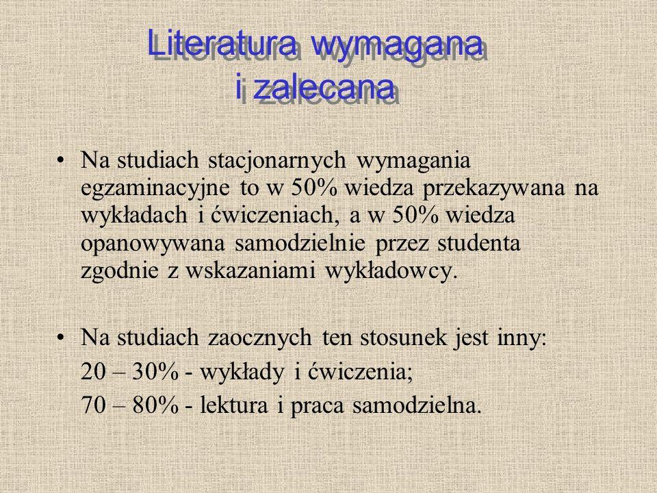 Literatura wymagana i zalecana