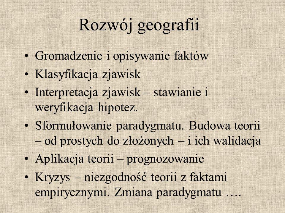 Rozwój geografii Gromadzenie i opisywanie faktów Klasyfikacja zjawisk