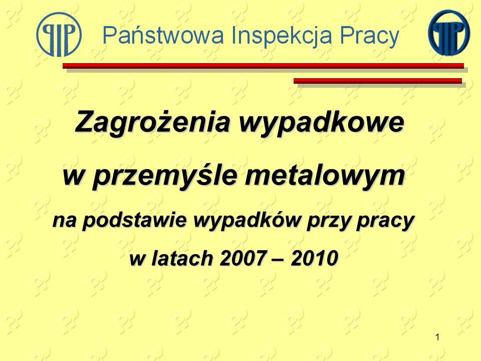 na podstawie wypadków przy pracy w latach 2007 – 2010