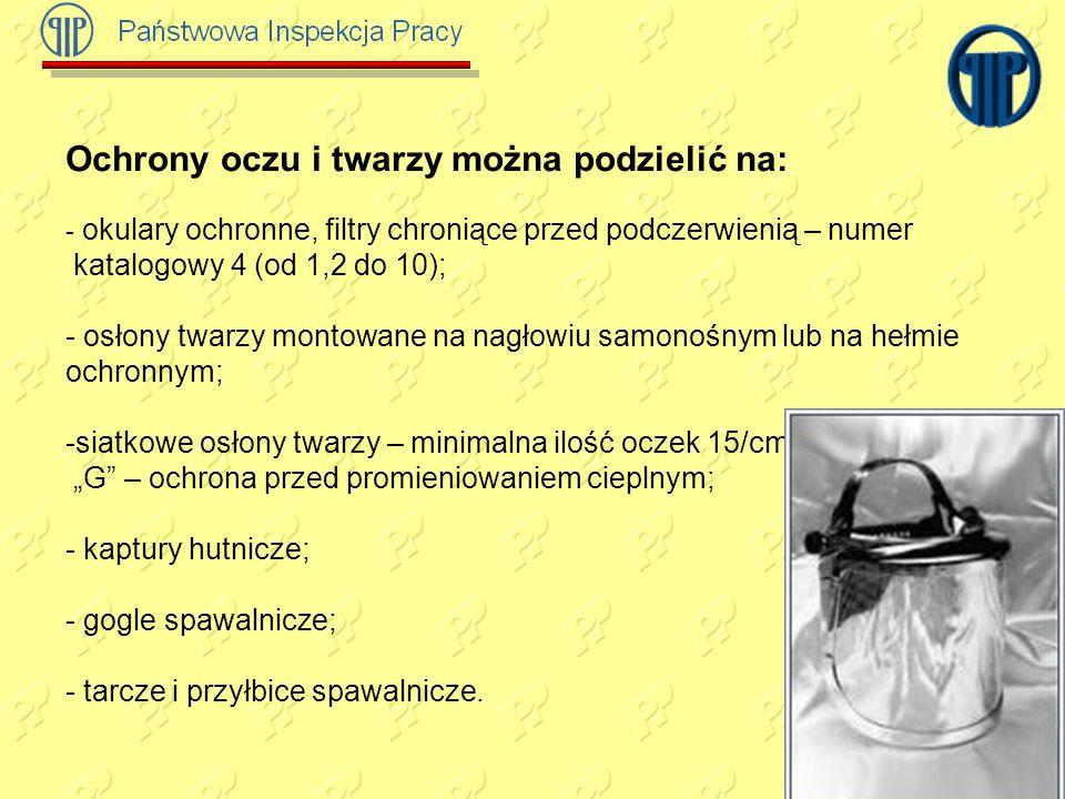 Ochrony oczu i twarzy można podzielić na: