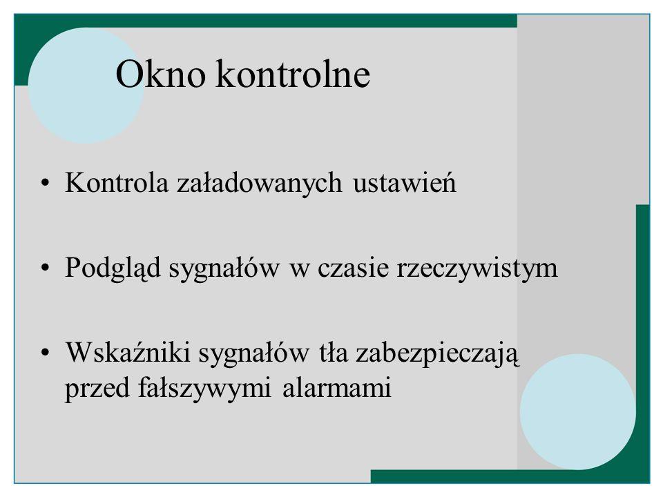 Okno kontrolne Kontrola załadowanych ustawień