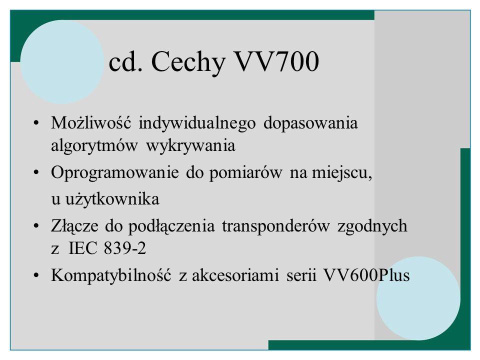 cd. Cechy VV700 Możliwość indywidualnego dopasowania algorytmów wykrywania. Oprogramowanie do pomiarów na miejscu,