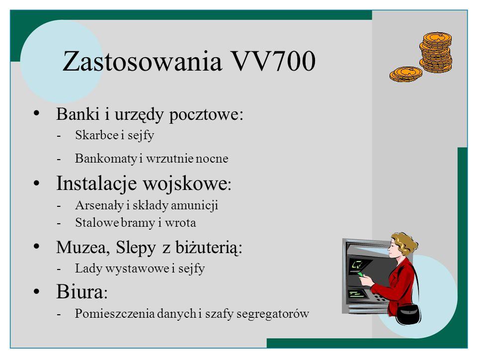 Zastosowania VV700 Banki i urzędy pocztowe: Instalacje wojskowe: