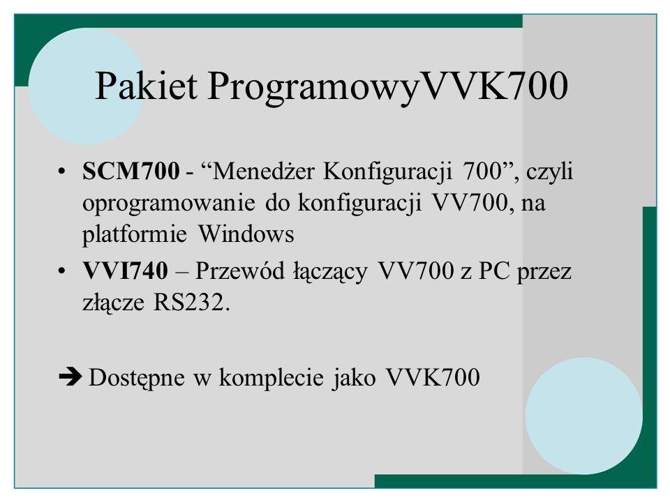 Pakiet ProgramowyVVK700 SCM700 - Menedżer Konfiguracji 700 , czyli oprogramowanie do konfiguracji VV700, na platformie Windows.
