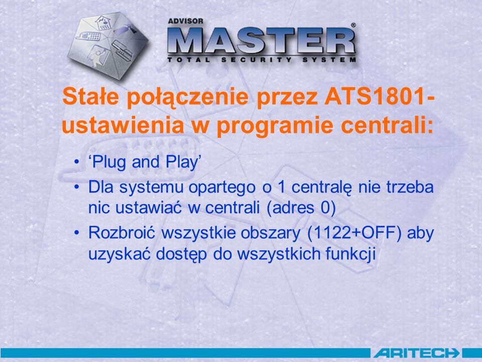 Stałe połączenie przez ATS1801-ustawienia w programie centrali: