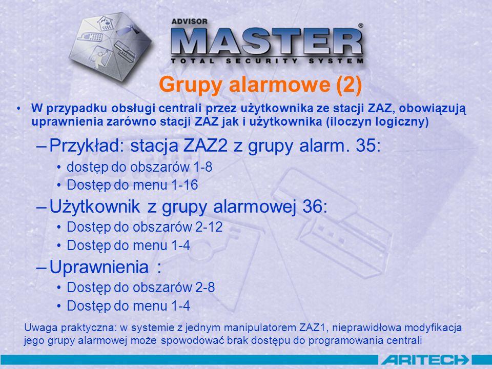 Grupy alarmowe (2) Przykład: stacja ZAZ2 z grupy alarm. 35: