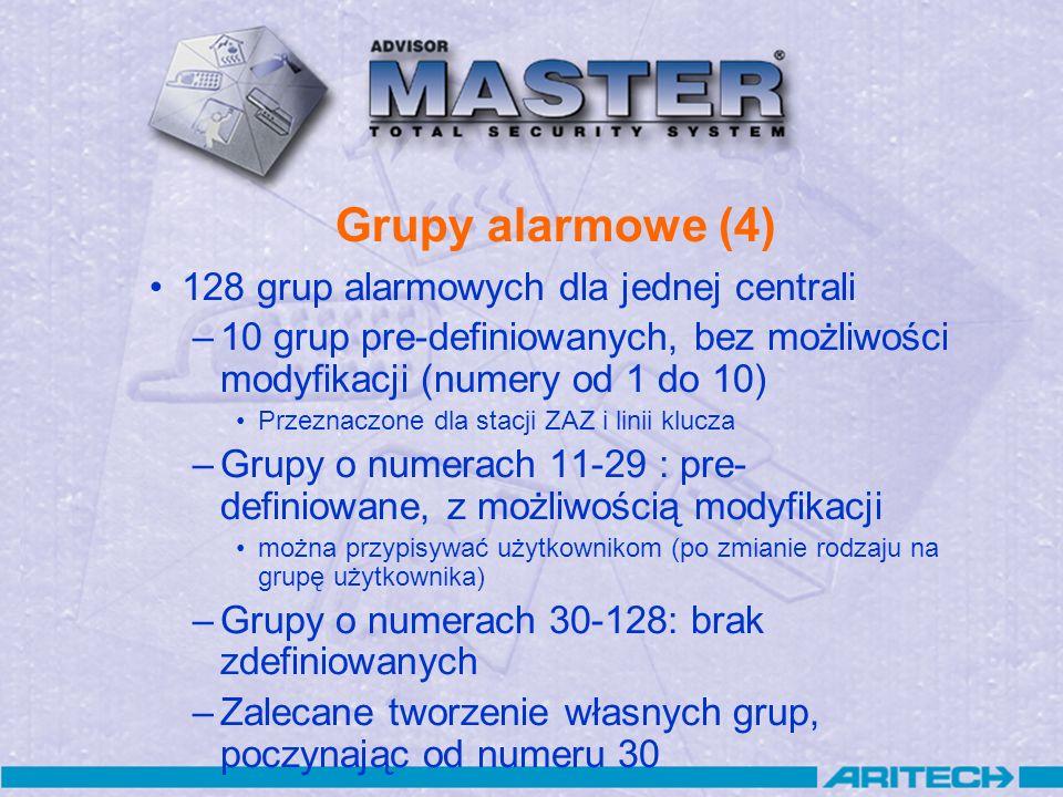 Grupy alarmowe (4) 128 grup alarmowych dla jednej centrali