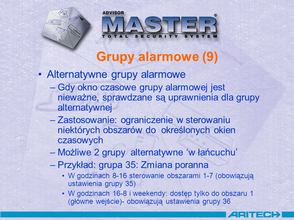 Grupy alarmowe (9) Alternatywne grupy alarmowe