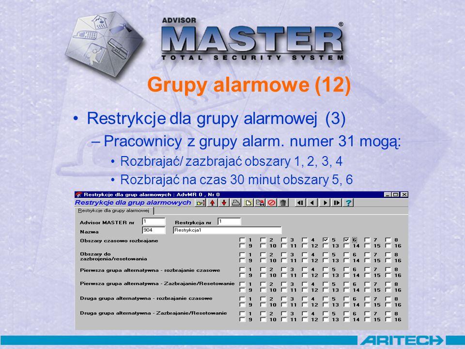 Grupy alarmowe (12) Restrykcje dla grupy alarmowej (3)