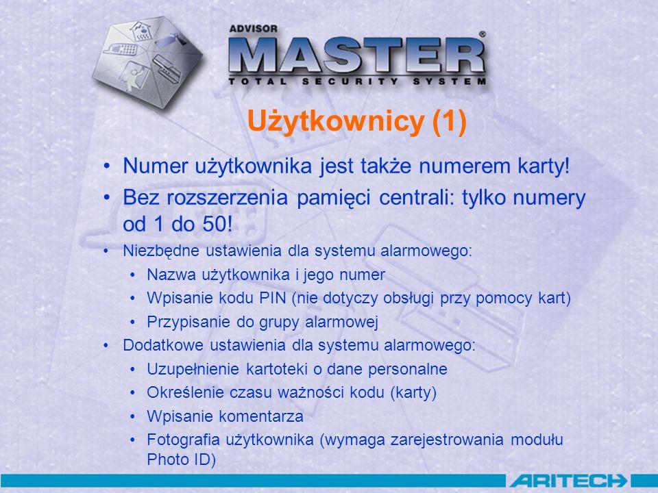Użytkownicy (1) Numer użytkownika jest także numerem karty!