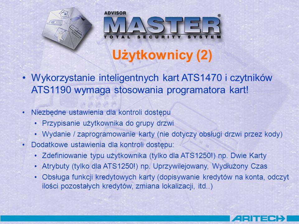 Użytkownicy (2) Wykorzystanie inteligentnych kart ATS1470 i czytników ATS1190 wymaga stosowania programatora kart!