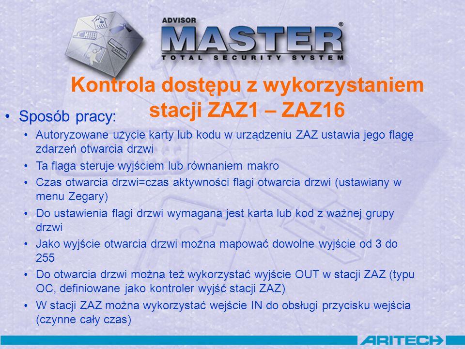 Kontrola dostępu z wykorzystaniem stacji ZAZ1 – ZAZ16