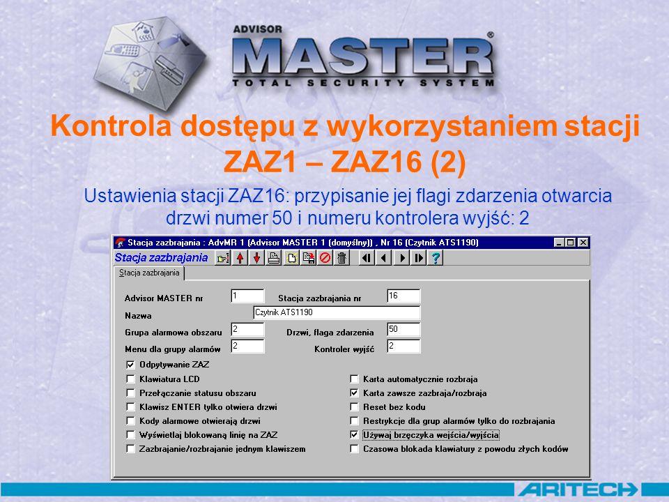 Kontrola dostępu z wykorzystaniem stacji ZAZ1 – ZAZ16 (2)